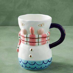 Anthropologie BirdCanFox Snowman Handpainted Mug